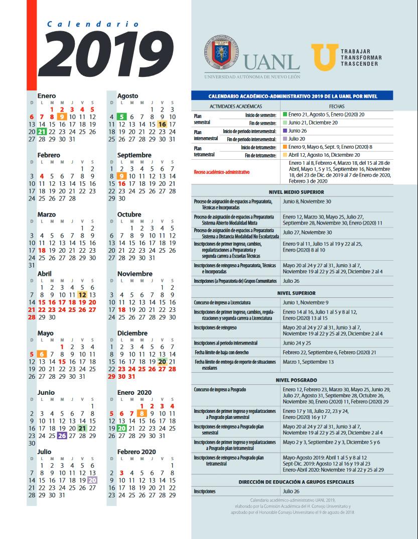 Junio Calendario 2019.Facultad De Ciencias Biologicas De La Uanl Calendario Academico